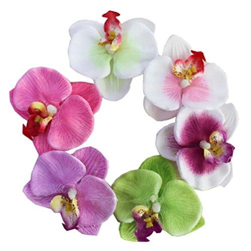 Lot de 6 pinces à cheveux en forme d'orchidée pour mariage, fête hawaïenne