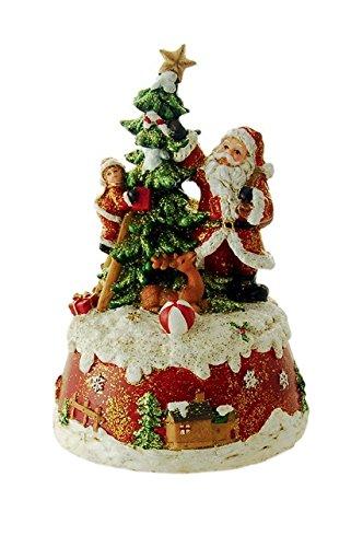 Il mondo dei carillon Mmm GmbH, 858250 Carillon Babbo Natale Che Decora l'Albero