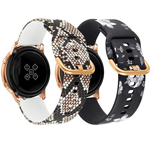 Vozehui - Cinturino di ricambio per orologio Samsung Galaxy Watch Active 2 da donna, 40 mm/44 mm, 20 mm, in morbido silicone con stampa floreale per Galaxy Watch 42 mm/Galaxy Watch Active/Active 2