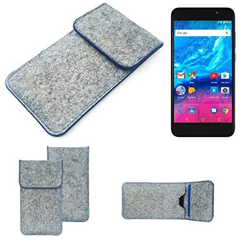 K-S-Trade Filz Schutz Hülle Für Archos Core 55P Schutzhülle Filztasche Pouch Tasche Hülle Sleeve Handyhülle Filzhülle Hellgrau, Blauer Rand