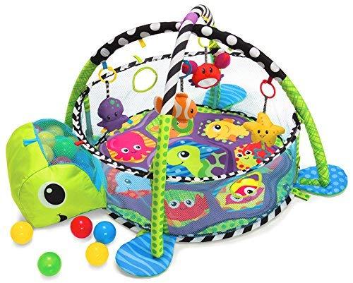 COIL Kinder Krabbeldecke mit Spielbogen und Bällen Spielmatte 30 Bällen (Schildkröte)