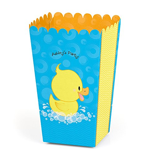Big Dot of Happiness Personalized Ducky Duck - Custom Baby Shower or Birthday Party Favor Popcorn Treat Boxes - Custom Text - Set of 12