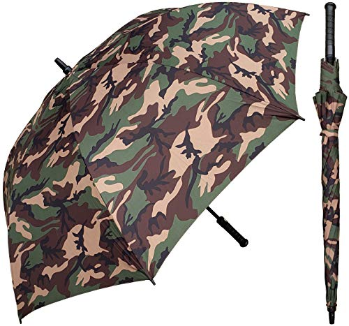 """RainStoppers 60"""" Auto Open Camouflage Print Umbrella with Rubber Handle"""