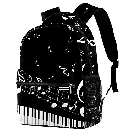LORVIES Flying Music Notes Musical Pianoforte Chiavi Casual Zaino a Spalla Zaino per Scuola Studenti Viaggio Borse