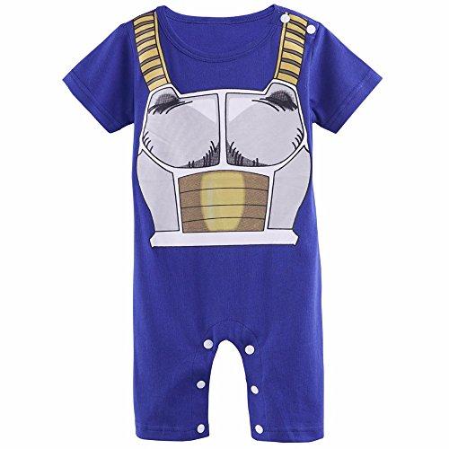 Sibaway  Pigiamino per bambino, motivo Vegeta, cosplay DBZ per neonati, costume originale e simpatico, 100% cotone 6 mois (5.5 - 7 kg / Longueur 60-66 cm)