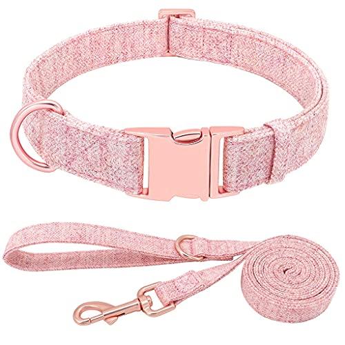 JNXY Collares para Perros Collares De Nailon para Perros Adecuados para Perros Pequeños, Medianos Y Grandes Suministros para Mascotas De Chihuahua (Color : Pink, Size : S)