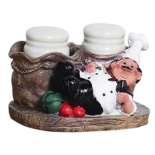 Modernos Estatuas Figuritas Adornos de interior Estatuas decorativas,Bonito tarro de sal y pimienta de resina para Chef, decoración de estilo nórdico, decoración para el hogar, panadería, restaurante
