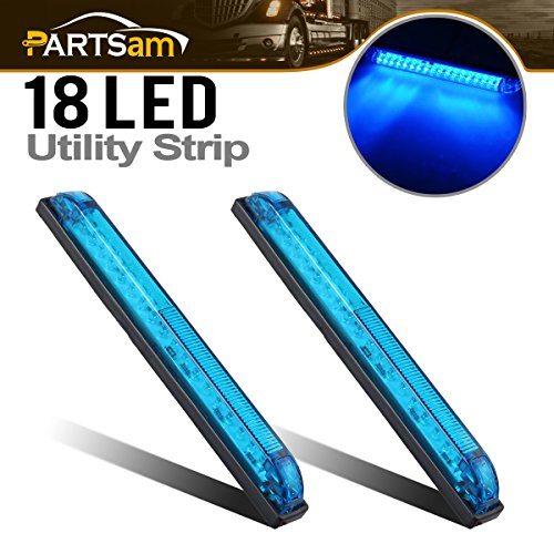 "Partsam 2pcs Blue - 18LED 8"" Utility Strip Light Bar Auto Marker Light 12V Low Current Draw, 8 Inch Blue Led Strip Bar, Slim Line RV Boat Marine Led Utility Lights Surface Mount"