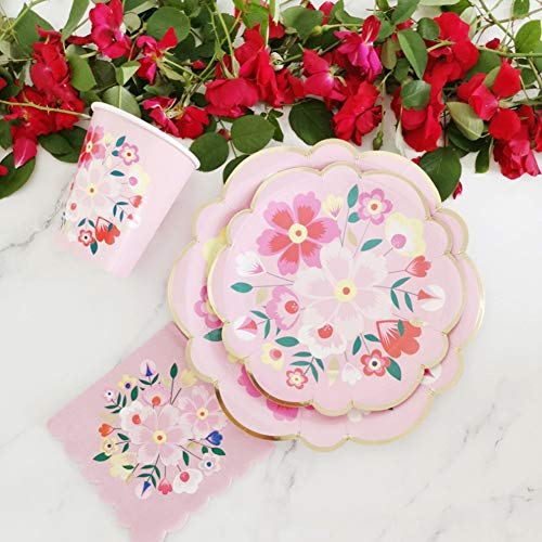 Jacksing Tableware, Flower Pattern Paper Plates, 8Pcs for Birthday Parties 7.5in Outdoor Barbecues