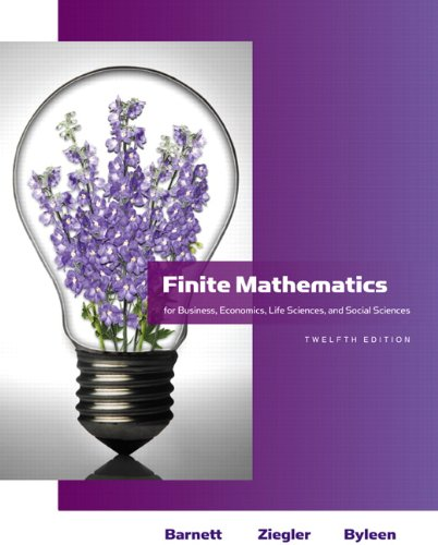 Compare Textbook Prices for Finite Mathematics: For Business, Economics, Life Sciences, and Social Sciences Barnett 12 Edition ISBN 9780321614018 by Barnett, Raymond A.,Ziegler, Michael R.,Byleen, Karl E.