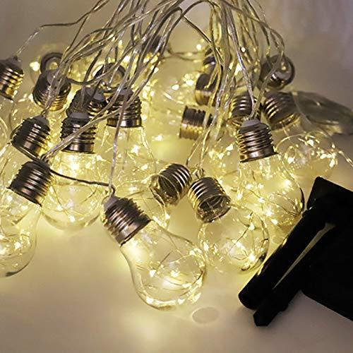 XKMY Cadena de luces LED para jardín de 5 m, 8 m, 10/20 bombillas, G45, con alambre de cobre, luz de hada, con cadena de bolas de fiesta con energía solar (5 m10 bombillas)