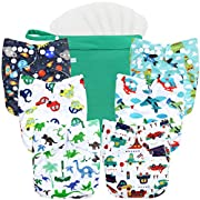 wegreeco Washable Reusable Baby Cloth Pocket Diapers 6 Pack + 6 Bamboo Inserts (with 1 Wet Bag, Car, Airplane)