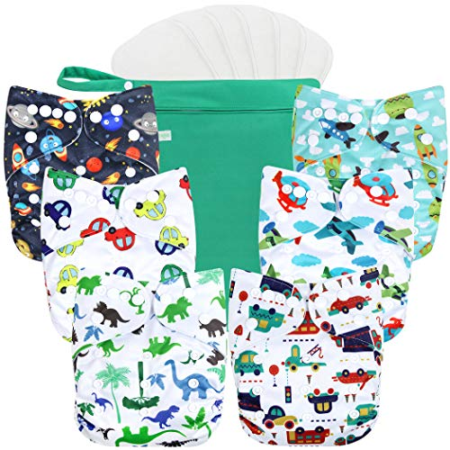 Product Image of the wegreeco Washable Reusable Baby Cloth Pocket Diapers 6 Pack + 6 Bamboo Inserts...