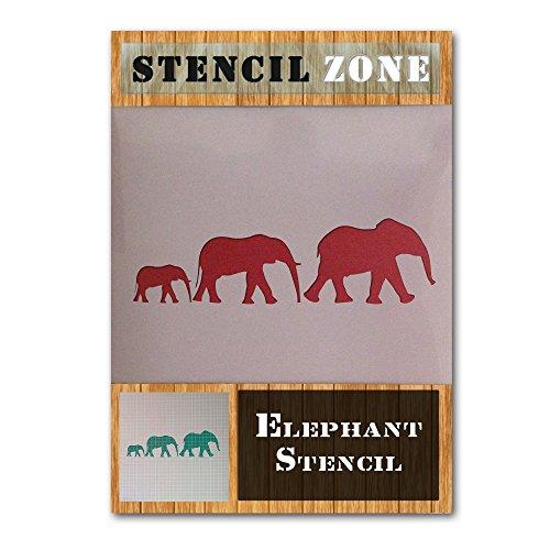 Elefant Familiengruppe Tier Mylar Airbrush Malerei Wand-Kunst-Handwerk-Schablone 1 (A5 Größe Stencil - XSmall)