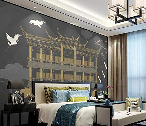 Fototapeten Wohnzimmer Schlafzimmer Wandbild Neuer Pavillon der chinesischen Art Bai He Xiangyun goldene geprägte Linien Hintergrundwandmalerei-3D Wandbild_300 * 210 cm