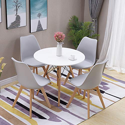 HomJoy Modern Design Dining Table and Chair Set, Grey Retro Lounge Chairs and 80cm Round Table (Grey * 4 + 80cm Table)