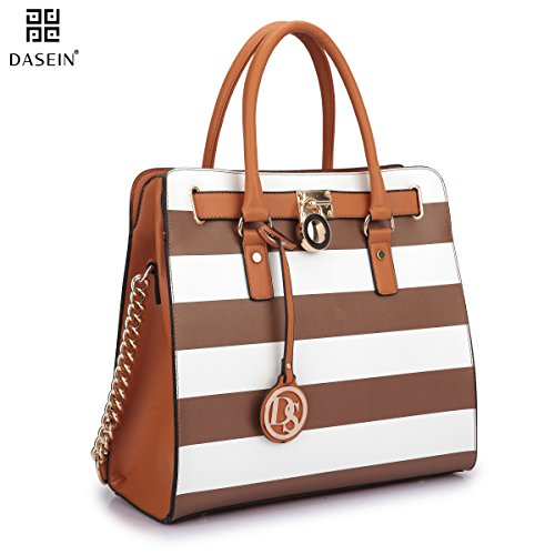Dasein Top Belted Padlock Stripe Tote Briefcase Satchel Shoulder Bag Handbag Designer Purse Laptop Bag
