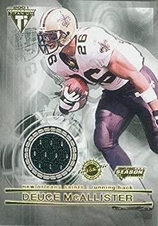 Deuce McAllister player worn jersey patch football card (New Orleans Saints) 2002 Pacific Titanium #65