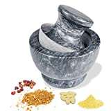 LUOLAO Marble Mortar and Pestle Set, Pill Crusher, 3.74 Inch - 0.9 Cup Capacity, For Grinding...