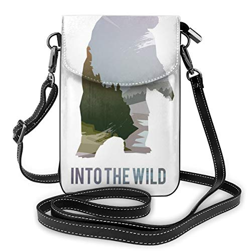 Women Small Cell Phone Purse Crossbody,Wild Animals Of Canada Survival In The Wild Theme Hunting Camping Trip Outdoors