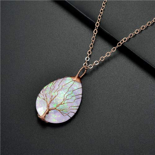 TREW Fashion Handgemaakte Tree of Life koperdraad Verpakt Ketting Hanger Blue Hars Plastic Water Drop Healing Crystal Ketting (Metal Color : FF266C White)