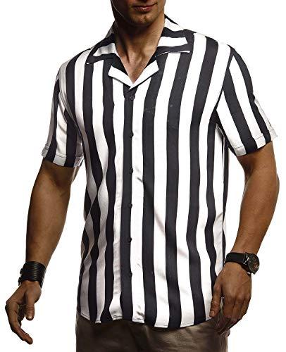 Leif Nelson Herren Hemd Kurzarm Oversize Kentkragen Stylisches Männer Hawaiihemd Stretch Kurzarmhemd Jungen Basic Shirt Freizeit Urlaub Sommerhemd LN3675 Weiß-Schwarz Medium