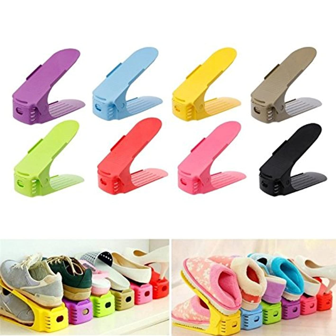 Aosreng 6Pcs Plastic Shoes Storage Rack Shleves Double-Wide Shoe Holder Save Space Shoes Organizer Stand Shelf for Living Room as pic6