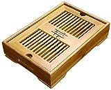 YZWDTGS Reservoir Type Bamboo Tea Tray - Chinese Kungfu Tea Table Serving Tray Box for Kungfu Tea Set (B)