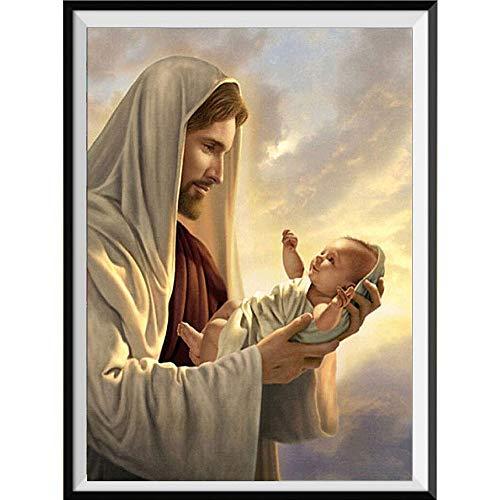 Xevkkf 5D Pintura Diamante Painting Kit_Jesús Religioso 30X40Cm_con Diamantes Redondos Y Fabricación para Decoración De Paredes