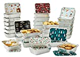 Set of 36 Christmas Treat Foil Containers - 6 Holiday Designs, Snowman & Santa Festive Cover Print -...