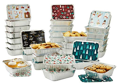 Set of 36 Christmas Treat Foil Containers - 6 Holiday Designs, Snowman & Santa Festive Cover Print - 7L x 5W x 1.5D - Disposable Food Storage Pan for Party Leftovers or Cookie Exchange