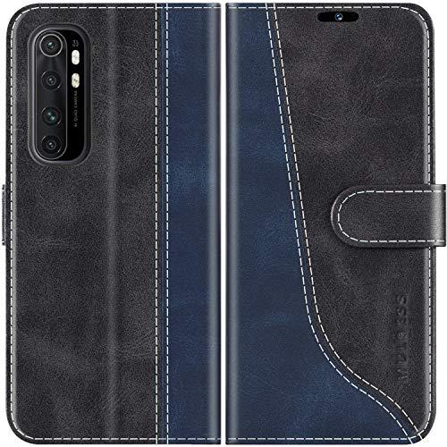 Mulbess Handyhülle für Xiaomi Mi Note 10 Lite Hülle Leder, Xiaomi Mi Note 10 Lite Handy Hülle, Modisch Flip Handytasche Schutzhülle für Xiaomi Mi Note 10 Lite, Schwarz