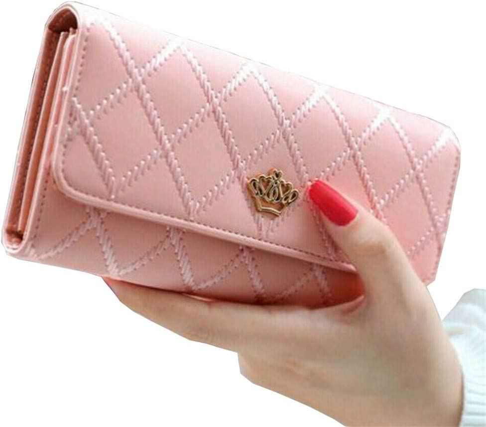RFID Blocking Wallet for Women Ladies Leather Card Holder Purse with ID Window Multiple Card Slots Travel Bifold Wallet-Clutch