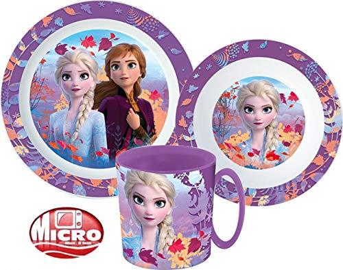 Frozen Die Eiskönigin Kinder-Geschirr Set mit Teller, Müslischale und Becher