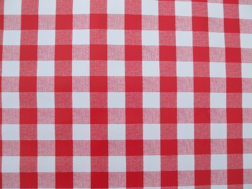THE TABLECLOTH COMPANY 140 x 200 cm Nappe Ovale en PVC/Vinyle – Vichy Rouge