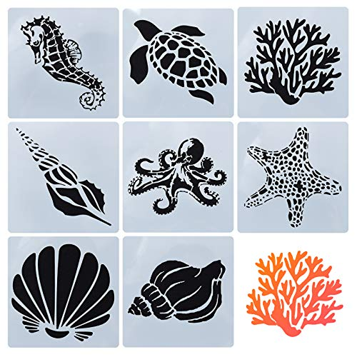 GORGECRAFT 8 Mixed Sea Animals Stencils Set 5.1x5.1 Ocean Creatures Painting Templates for DIY Art Crafts Scrabooking (Starfish, Conch, Seahorse, Coral, Shell Designs)