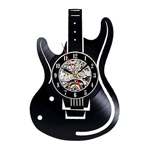 YUN Clock Elektrische Gitarre Wanduhr aus Vinyl Schallplattenuhr Upcycling Design-Uhr Wand-Deko Vintage Familien Zimmer Dekoration Kunst Geschenk Schwarz, Durchmesser 30 cm,B