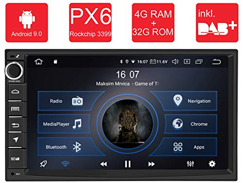 M.I.C.® AU7 Android 9 Autoradio Radio Navigationssystem:DAB+ Plus digitalradio Bluetooth 5.0 Wlan 7 Zoll Bildschirm 4G+32G usb sd gps 2 DIN universal tuning Gerät für VW Toyota KIA Nissan Hyundai usw.