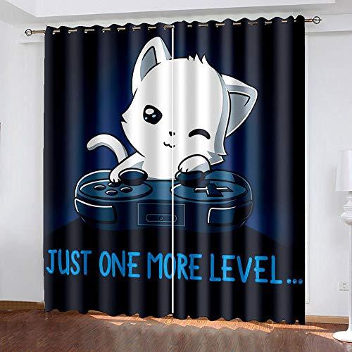 DNHFUI 2Er Set - Gardinen Wohnzimmer Modern Cartoon, Süß, Katze Lärmschutzvorhang Wärmeisolierend, Blickdichte Vorhänge Mit Muster 2Er Set 130 x 160cm