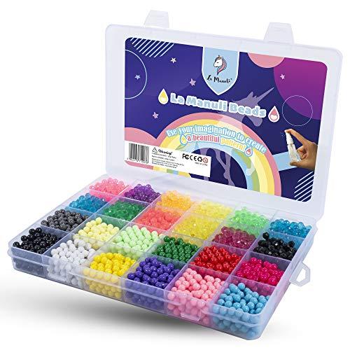 La Manuli Sortiert Fuse Sticky Perlen Kit 3300 Stück 5 mm 20 Farben Kinder Sicherung Perlen Kollektion für Kinder mit Kristallperlen Transparent Wasserperlen Plastikbox
