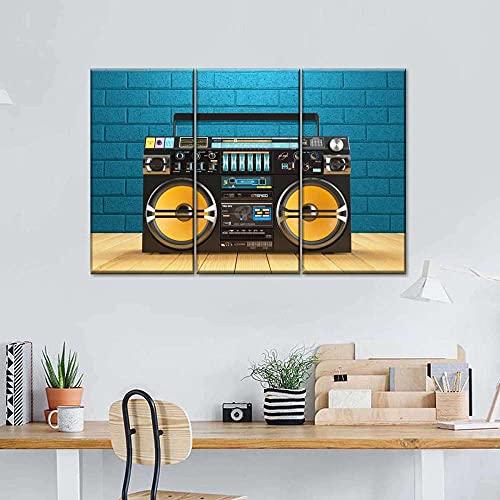 AWER Lona Murales Cuadro Moderno en Lienzo 3 Piezas Reproductor de cinta Boombox Multi Panel HD Arte De Pared Imágenes Modulares Sala De Estar Decoración para El Hogar 130X80Cm