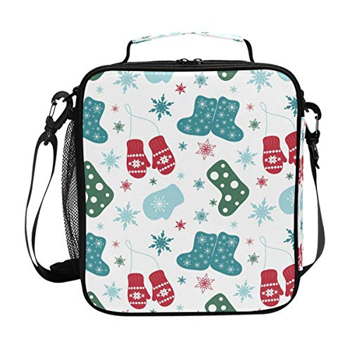 Portable Lunch Box Insulated Cooler Lunch Bag Prep Kids Teens Adult Mittens Boots Snowflake Meal Lunch Tote Freezable Shoulder Strap for School Office