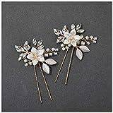 SWEETV 2Pcs Handgemachte Hochzeit Haarnadeln, Blume Braut Haar Nadel Perlen Hochzeit Haarschmuck für Bräute