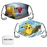 tangchen Among Us Máscara lavable,máscara de polvo reutilizable Pokemon (2 paquetes),adecuada para niños mayores (unisex),con filtro,clip nasal en forma de M,correas ajustables para los oídos