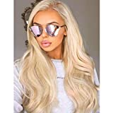 Wavy Platinum Ash Blonde Synthetic Wigs Full Machine Made NONE LACE Long Wavy Light Platinum Blonde Synthetic Hair Replacement Wigs For Women 22 Inch Light Ash Mixed Platinum Long Synthetic Blonde Wig