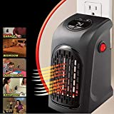 DPISZONE Portable Heater, Handy Heater Compact Plug-In Portable Digital Electric Heater Fan Wall-Outlet Handy Air Warmer Blower Adjustable Timer Digital Display for Home/Office/Camper. (Black)