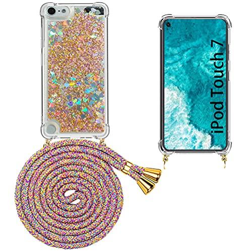 Mkej Flüssig Treibsand Handykette Kompatibel mit iPod Touch 7/6/ 5, TPU Silikon Back Cover mit Glitter Flüssigkeit Necklace Schutzhülle