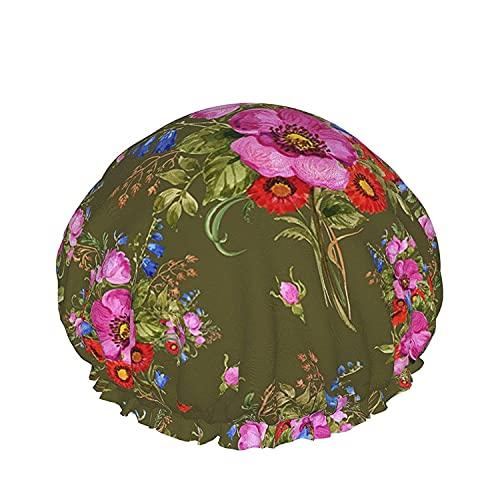 Gorro de ducha impermeable de doble capa, fondo de textura de mármol blanco abstracto natural, para mujeres gorras de pelo largo lavables reutilizables-color_4