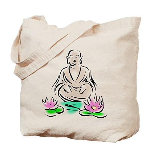 CafePress Buddha Sitting On Lotus Natural Canvas Tote Bag, Reusable Shopping Bag