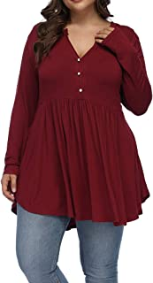 Allegrace Women's Plus Size Henley V Neck Button Tunic Tops Long Sleeve Swing Flowy Shirts